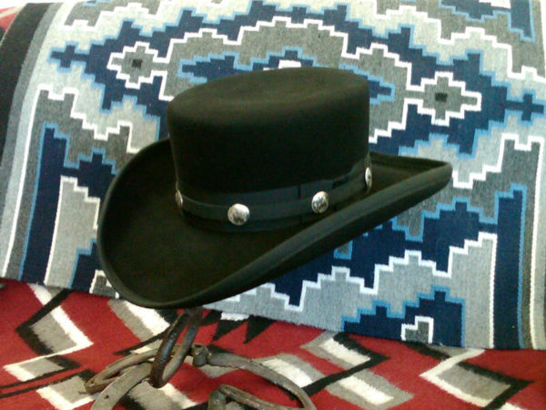 Replica James Caan hat from John Wayne movie El Dorado. Basic hat price for chosen felt plus $50 for hatband over ribbon with conchos.