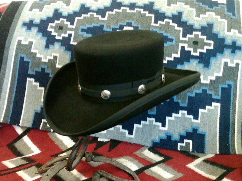 Replica James Caan hat from John Wayne movie El Dorado. Basic hat price for chosen felt plus $50 for hatband over ribbon with conchos.