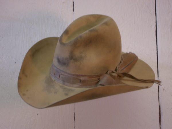 antiqued cowboy hat montana peaks