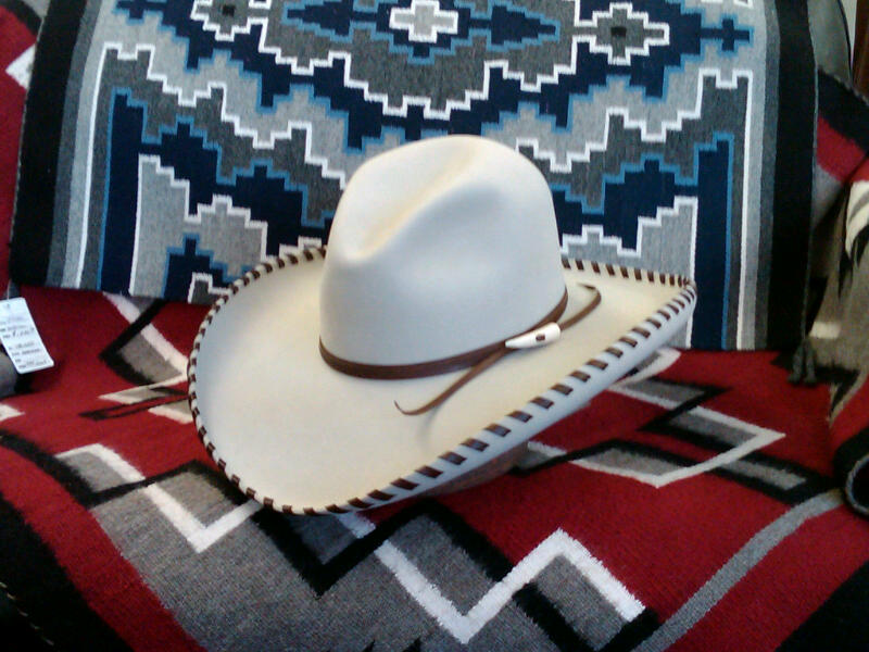 Montana Crease crowned Silverbelly hat. Laced West Texas big brim. For lacing to any hat add $55.