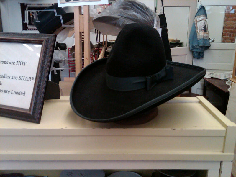 Example of hat made for the EuroDisney, Baffalo Bill Wild West Show performers. Show located outside Paris, France. Continuation of show started by Buffalo Bill around 1864.